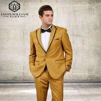 LN081 Nieuwe Aankomst Een Knop Goud Geel Bruidegom Tuxedos Groomsmen mannen Wedding Prom Pakken Maatwerk (Jas + broek + Tie)