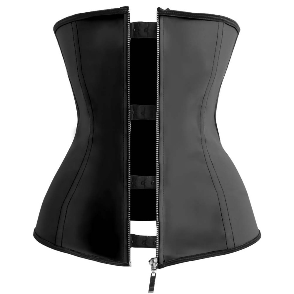 Black Corselet Shaper Zipper and Hooks Rubber Latex Waist Corset Tops Body Slimming Shaper