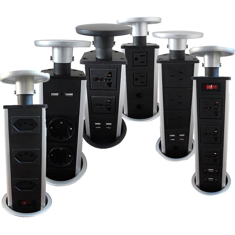 Tirer POP UP électrique 3 prise de courant 2 USB cuisine Table Plug prises rétractable pour comptoirs plan de travail