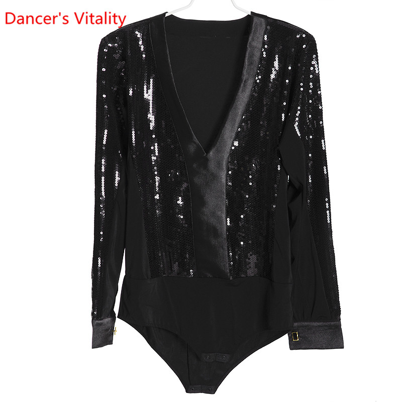 Learned Hot Dance Competition For Men Latin Top For Boys Dance Swimsuit Costumes Contemporary Latin Dance Dance Clothes With Black Clear-Cut Texture