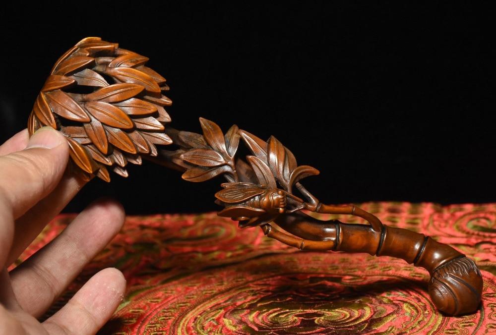 christmas Chinese Folk Boxwood Wood Carving Lucky cicada Bamboo Shapt RuYi Ru Yi Statue halloweenchristmas Chinese Folk Boxwood Wood Carving Lucky cicada Bamboo Shapt RuYi Ru Yi Statue halloween