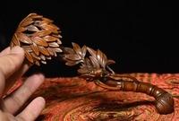 christmas Chinese Folk Boxwood Wood Carving Lucky cicada Bamboo Shapt RuYi Ru Yi Statue halloween