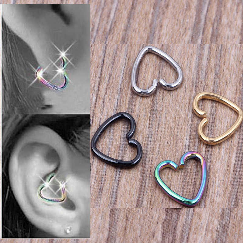 1Pc Ear Cartilage Tragus Piercing Helix Earrings Heart Labret Rings Lip Hoop Star Seamless Nose Rings Body Jewelry