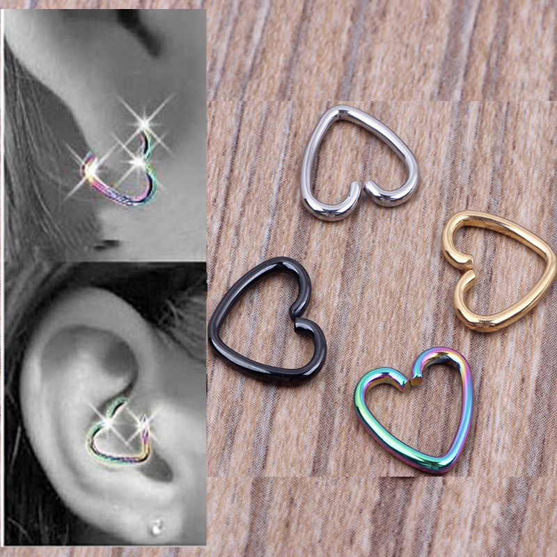 1Pcs Ear Cartilage Tragus Piercing Helix Earrings Heart Labret Rings Lip Hoop Star Seamless Nose Rings Body Jewelry  αυτοκολλητα τοιχου καθρεπτησ