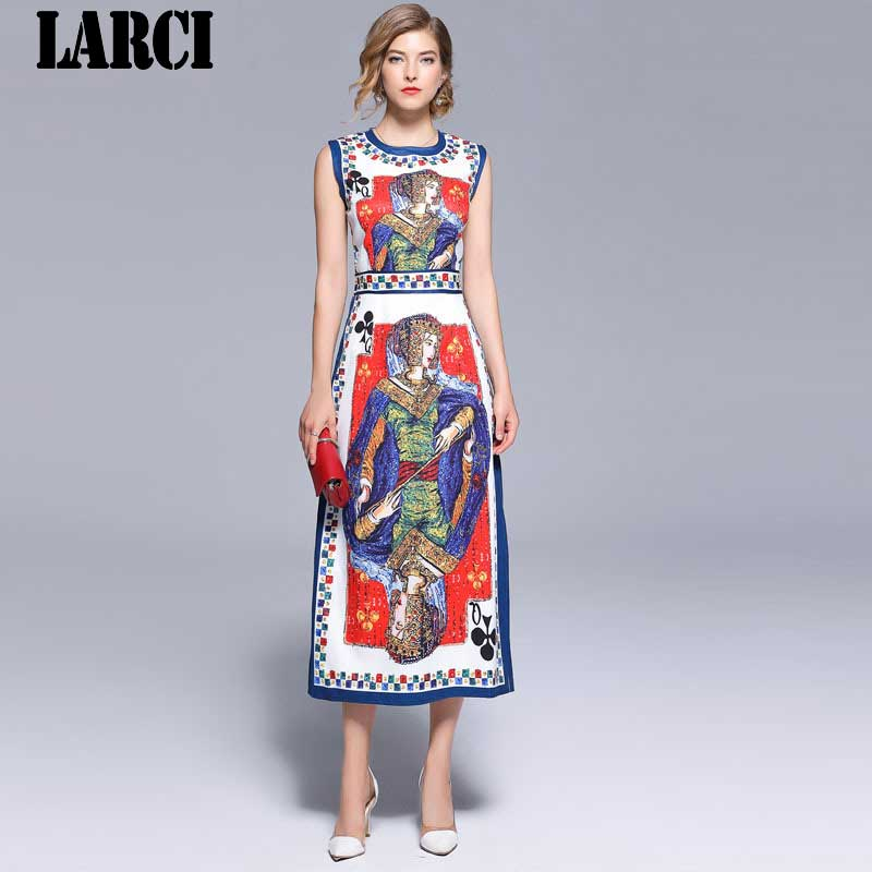 LARCI  Lady Vintage Style Professional Work Style Formal Dress 2018 Lateset Fashion Design Positioning Printing Vest N7523