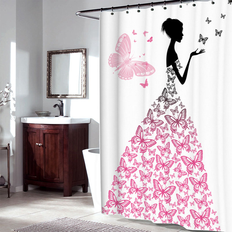 High Quality Waterproof Butterfly Girl Shower Curtain with Hooks Cute Girl Portrait Bathroom Curtains for Home Decorations YL-02
