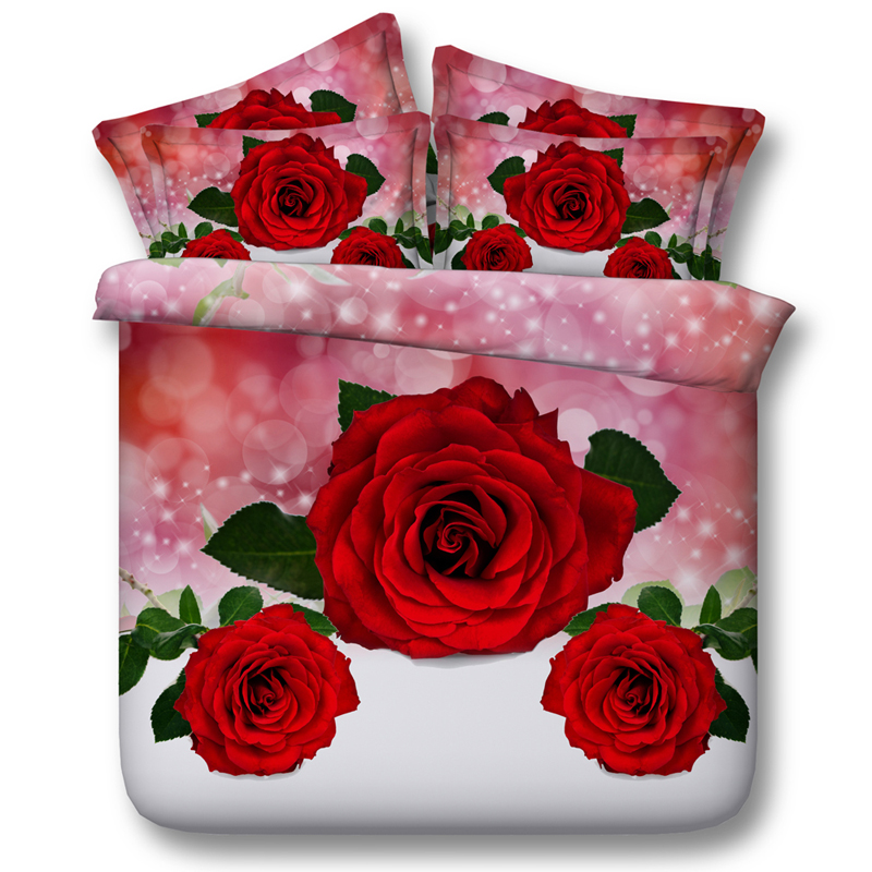Red Rose Flower 3D Printed Comforter Bedding Twin Full Queen Super Cal King Size Bed Sheets Duvet Cover Sets Girls Home Wedding