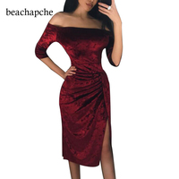 Winter Dress 2018 Sexy Off Shoulder Sheath Velvet Dress Women Evening Party Dress Long Sleeve Velvet Pencil Bodycon Dress