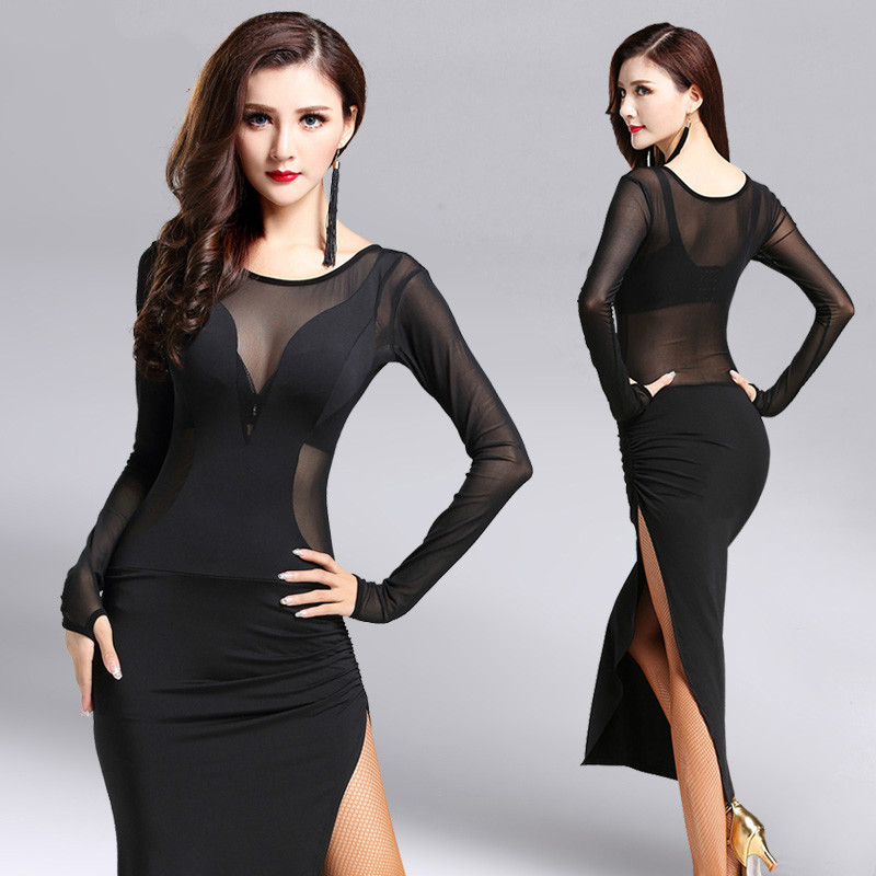 Latin Dance Dress for Women Black Professional Sumba Dancing Skirt Adult Rumba Tango Ballroom Stage Dance