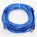 10m 33ft USB 2.0 Extension Cable Male to Female M/F Dual Shielding(Foil+Braided) Dual EMIFIL High Speed Transparent Blue