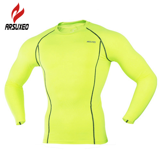 ARSUXEO Compression Base Layer Men Running Jogging Long Sleeves T-Shirts Tops Jerseys Gym Bodybuilding Fitness Clothing Tights