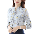 Spring Summer 2017 Women Tops Female Clothing Blusa Feminina Office Casual Chiffon Blouse Shirt Print Ladies Cheap Clothes China