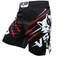 Men Polyester Mma Shorts Muay Thai Boxing Shorts Pantalones Mma Black Red Tiger Kick Boxeo Sanda Embroidery Fighting Trunk