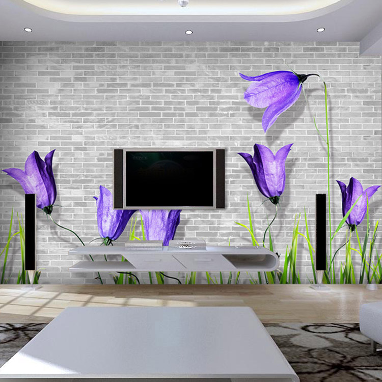 Custom purple flower television background 3D wallpaper minimalist living room sofa bedroom 3D wallpaper murals 3d ручка feizerg f001 purple fp001