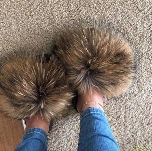 Real Fox Hair Slippers Women Fur Raccoon Fluffy Sliders Jamacia Furry Summer Flats Sweet Ladies Shoes Large Size 45 Wholesale