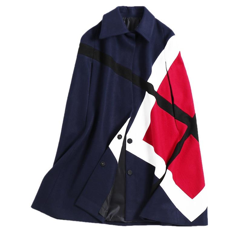 Veste Manches Femmes Laine Mélanges Manteaux marine Vêtements Pour Chauve  De Ponchos Longues Hiver Bleu Noir Manteau souris Mode Cape CxHwqAxY 6530ded691f