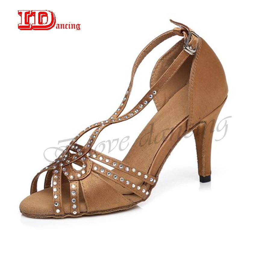 differently ee562 244f3 IDancing Bronzo Con Strass scarpe da donna per il ballo salsa scarpe da  ballo latino scarpe da ballo scarpe da jazz scarpe tacco open toe nero 8.5  cm