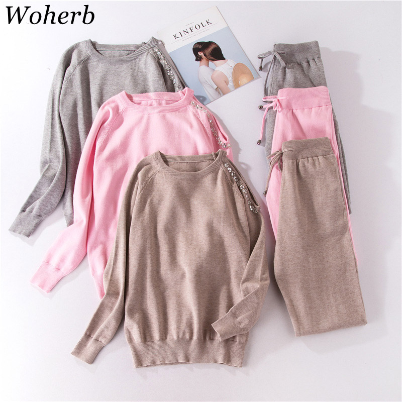 Woherb 2020 Spring Knitted Sweatsuit Women Two Piece Set Crystal Beading Off Shoulder Top Pullover+Knit Pants Tracksuits 20674