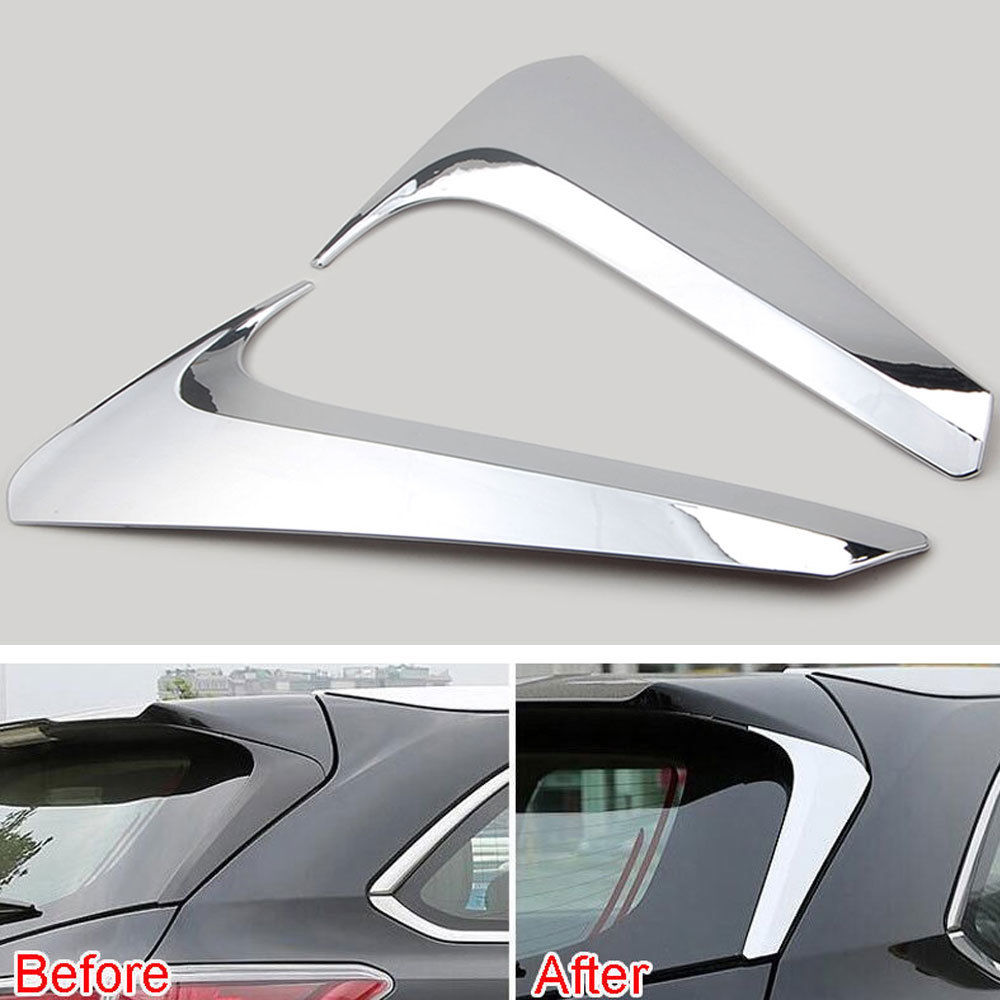 Chrome Rear Window Spoiler Triangle Cover For Toyota Highlander Kluger 2015 2016