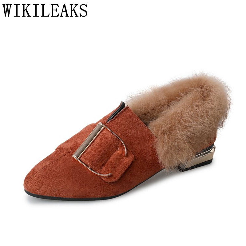 high quality women shoes luxury brand flat shoes women fur slip on loafers zapatillas mujer casual ladies shoes sapato feminino new designer women fur flats luxury brand slip on loafers zapatillas mujer casual ladies shoes pointed toe sapato feminino black