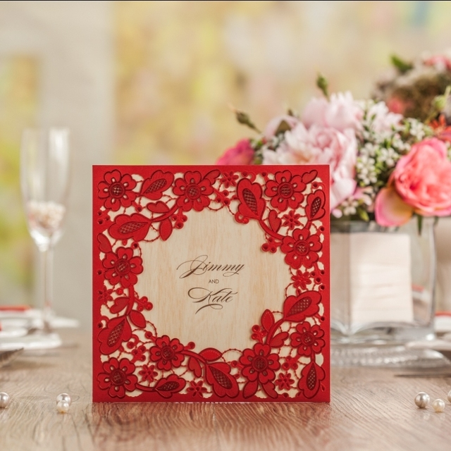 Cw5280 Chinese Red Embossed Laser Cut Wedding Invitation Free
