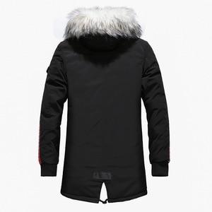 Image 3 - באיכות גבוהה עבה חם Mens חורף מעיל מעיל גדול פרווה סלעית רחוב סגנון ארוך גברים Parka מקרית Slim זכר להאריך ימים יותר
