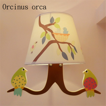 Fresh garden bird children's room wall male girl bedroom bedside lamp eye protection lamp for reading learning study