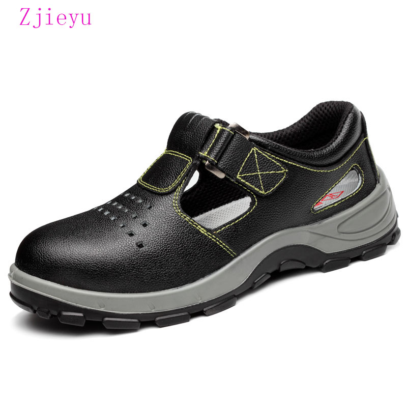 New fashion Summer black breathable safety shoes for men steel toe and sole anti bot light safety boots steel toe work boots