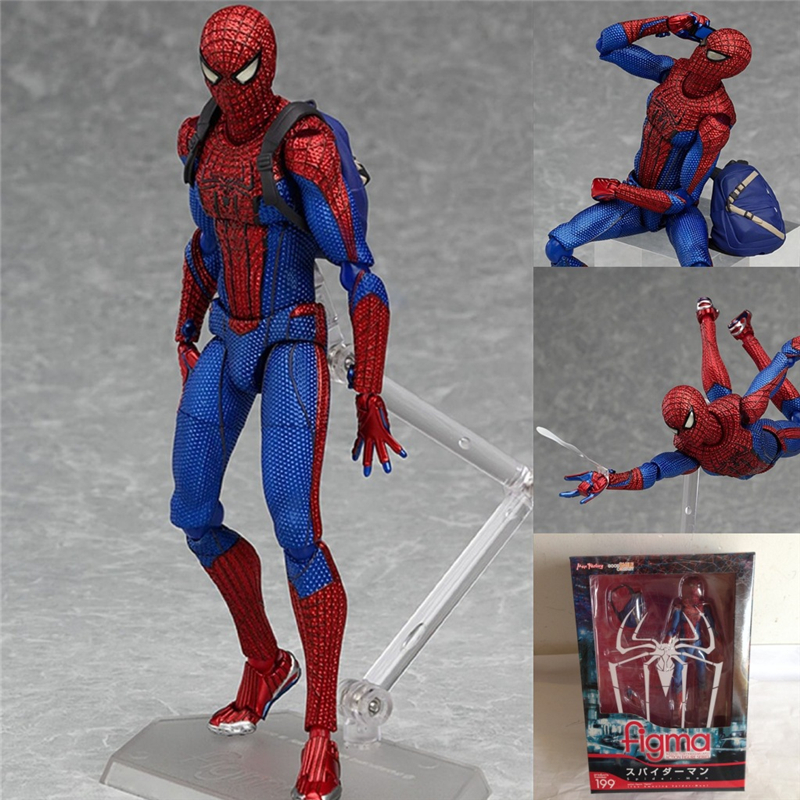 Superheros Spiderman The Amazing Spiderman Figma 199 PVC Action Figure Collectible Model Toys Doll 15cm SHAF029  free shipping 6 spider man the amazing spiderman boxed 15cm pvc action figure collection model doll toy gift figma 199