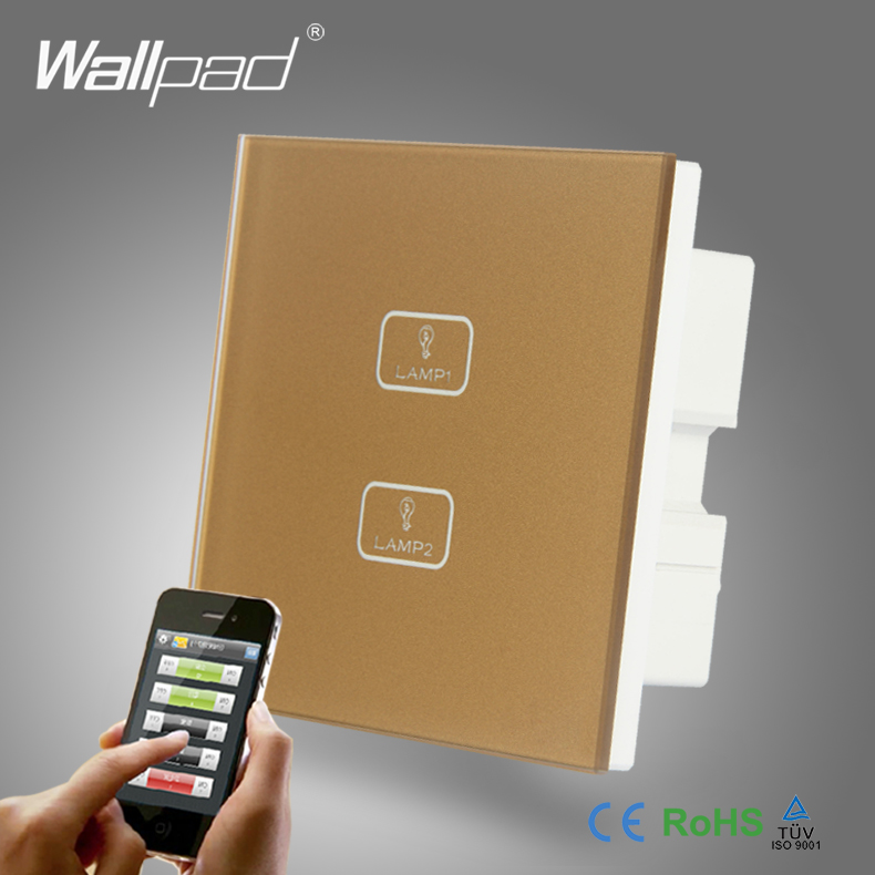 WIFI Phone Control 2 Gang Remote Wallpad Gold Glass Switch 110-250V LED 2 Gang Phone WIFI Touch Controlled Wall Light Switch 2pcs 1 gang 2way 3 way wifi control smart home wallpad white crystal switch 110 250v touch and remote wifi control light switch