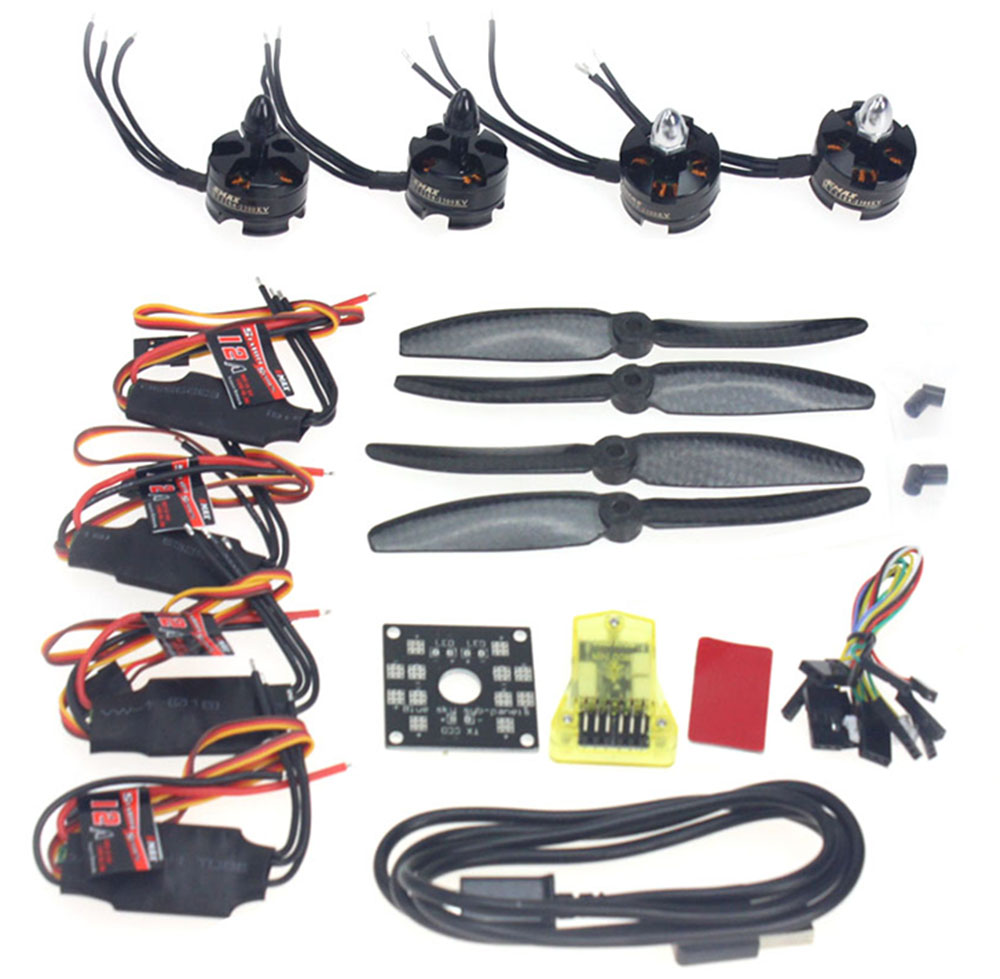 F12065-W DIY 4 Axle RC Drone Helicopter Parts ARF Kit: Emax 2300KV Brushless Motor 12A ESC 5030 Propeller CC3D Flight Controller led rc helicopter 250mm carbon fiber frame cc3d flight controller brushless motor 12a esc fs i6 qav250 rtf mini drone quadcopter