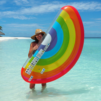 180cm Giant Rainbow Inflatable Pool Float Women Swimming Ring Beach Water Toys For Adult Fruit Floatie Air Mattress Lounger boia
