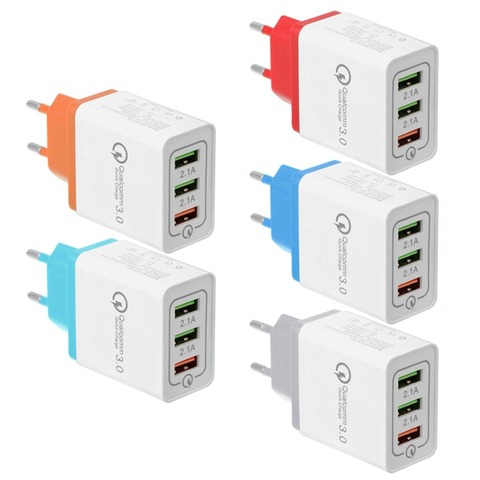 3 Ports Quick Charge 3.0 USB Charger Power Adapter for iPhone iPad Samsung Xiaomi LG HTC Mobile Phones QC3.0 Travel Fast Charger Lahore