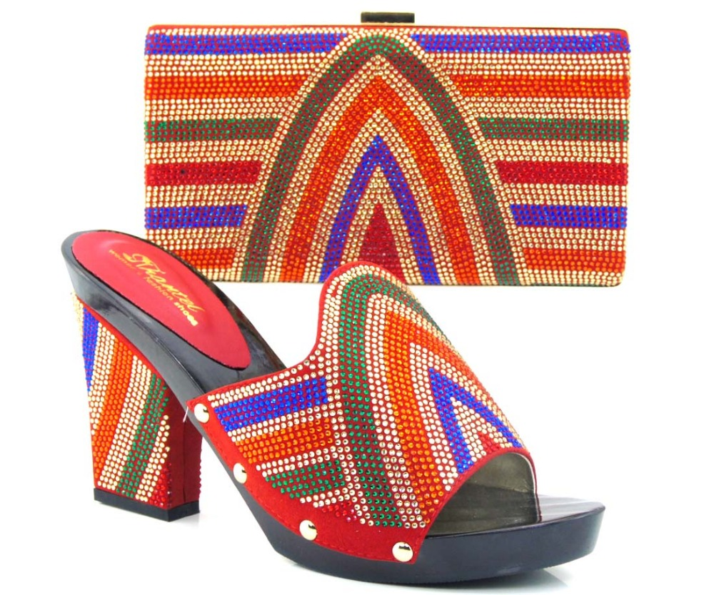 ФОТО RED Most Popular African Shoes And Matching Bags Set With Colorful Stone Nigerian Shoes And Bags Set !!HVZ1-23