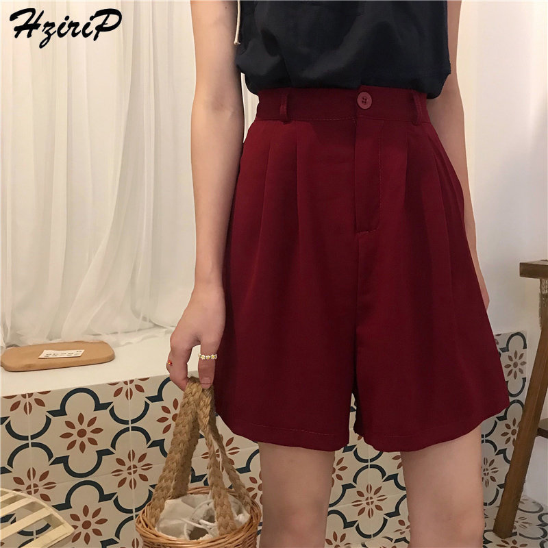 HziriP 2019 Korea Chic Shorts Summer Female Straight Short Casual Women Bottoms Solid Office Lady High Waist Fashion Feminino
