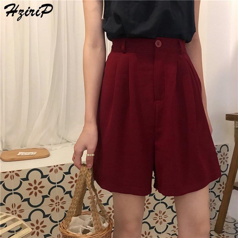 HziriP 2019 Korea Chic Shorts Summer Female Straight Short Casual Women Bottoms Solid Office Lady High Waist Fashion Feminino