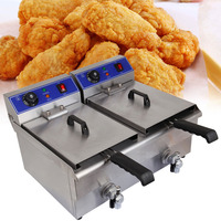 (Ship from USA) 20L Deep Fryer Commercial Countertop Stainless Steel Dual Tank Restaurant with Digital Timer and Drain