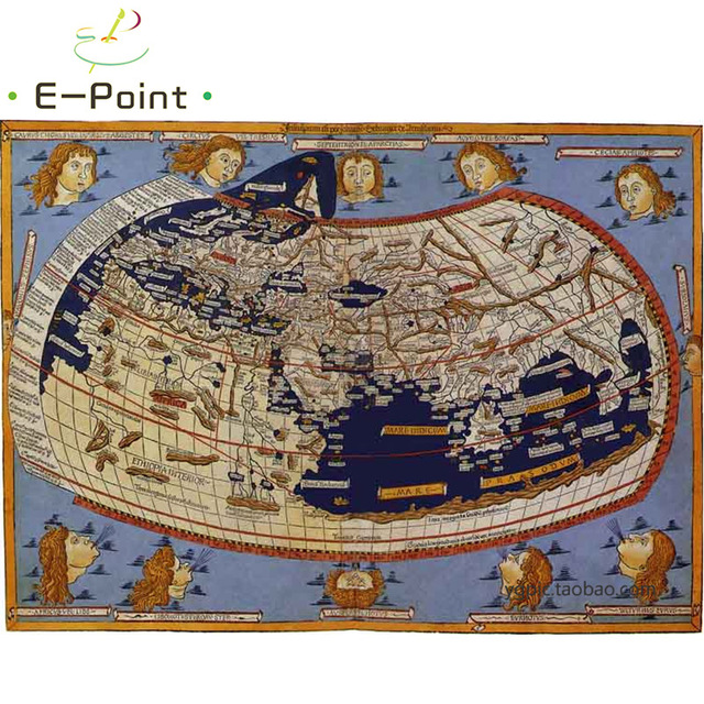 Ptolemy World Map Oil Painting Print On Cotton Canvas Painting
