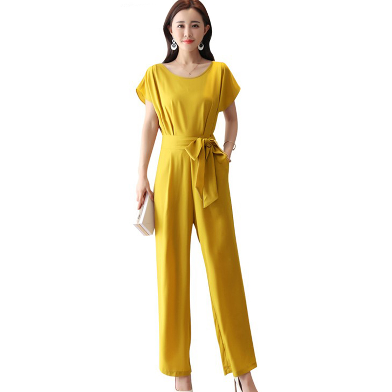 Wide Leg Jumpsuit Female 2018 Summer Elegant lady Suit high Waist Slim Chiffon Jumpsuits ...