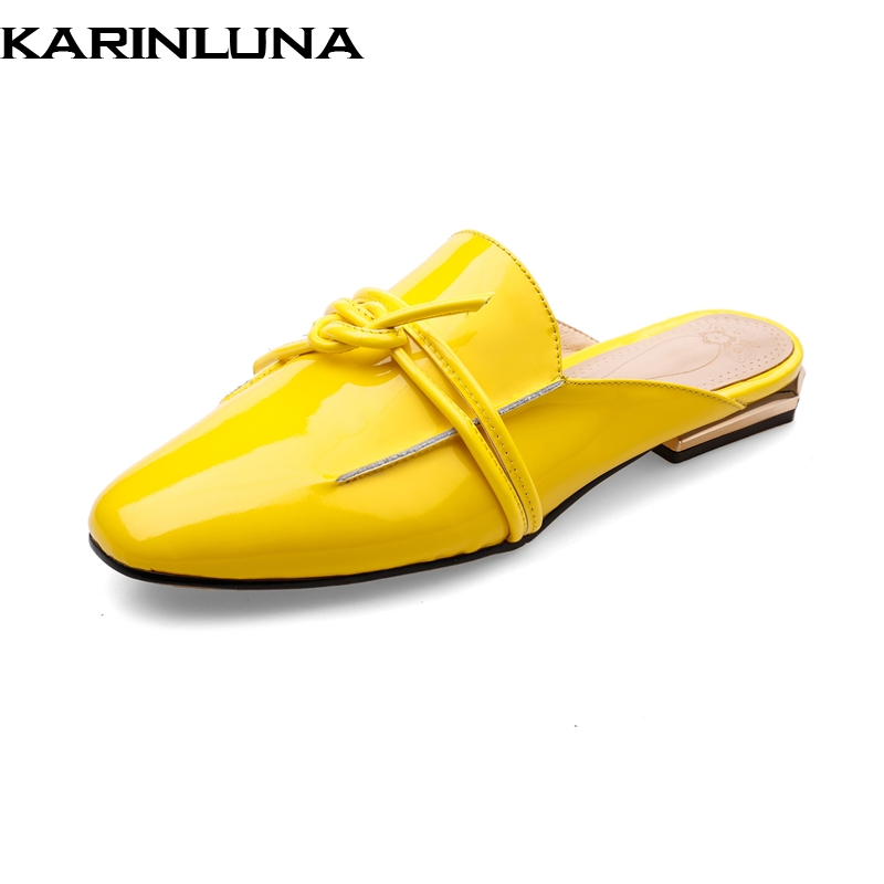 KarinLuna 2018 Large Size 34-42 Genuine Leather Slip On Spring Summer Shoes Women Flats Casual Cow Leather Woman Flats Shoes bonjomarisa large size 33 42 women s genuine leather lace up wedges increasing platform shoes woman casual spring flats