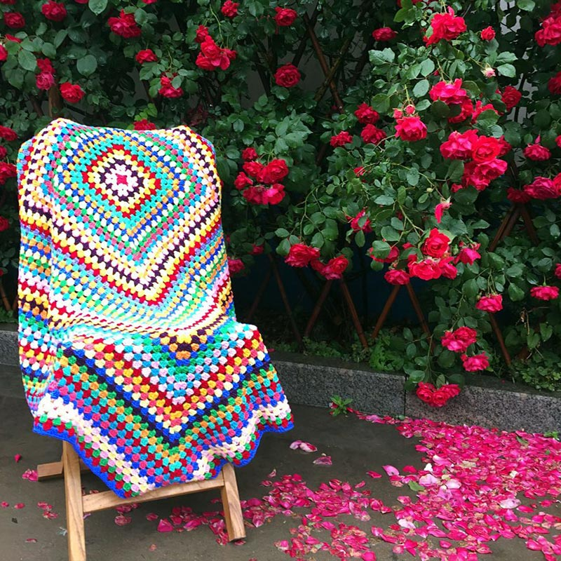 Colorful Handmade hook flowers cotton Lace Chic Crocheted Blanket / - Home Textile - Photo 1