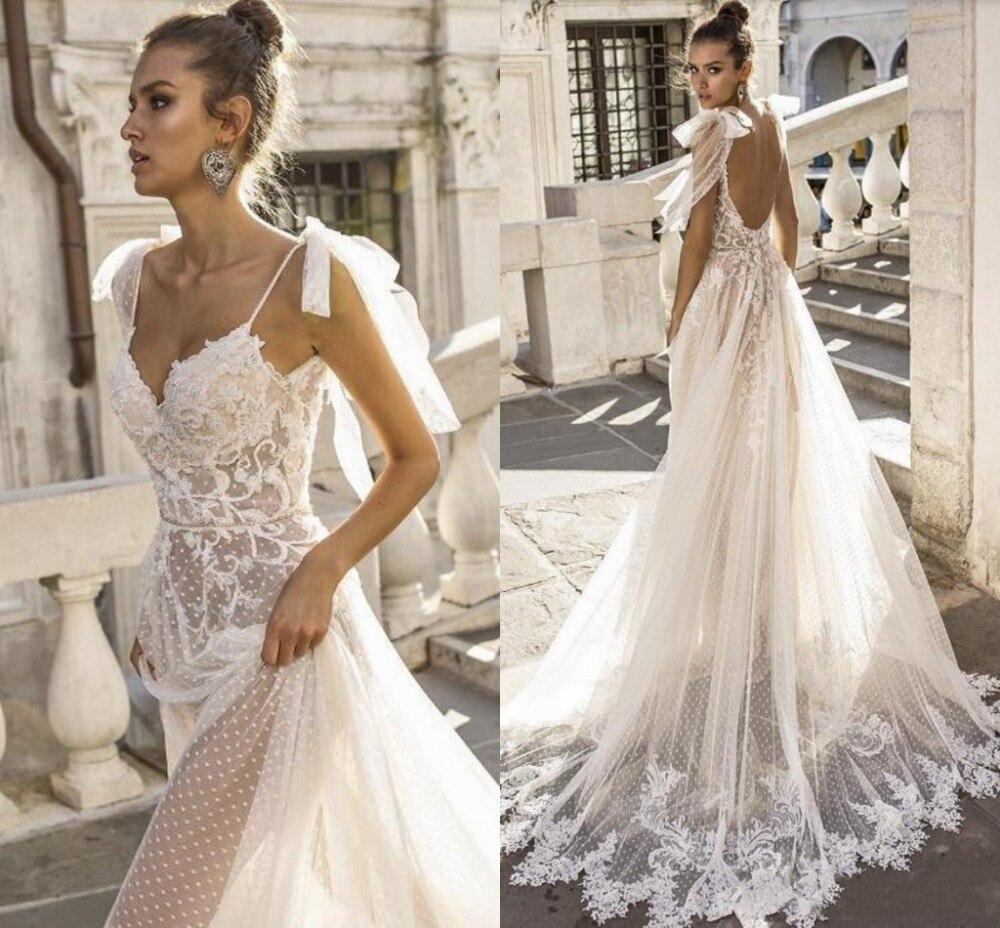 2020 Sexy Boho Wedding Dresses Spaghetti Straps Illusion Lace Backless Bridal Gowns Vestido De Novia Beach Wedding Dress Cheap