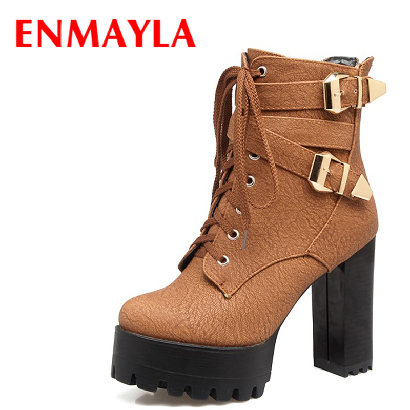 ENMAYLA New Winter Autumn Ankle Boots for Women Lace-up Platform Buckle Punk Shoes Women Chuky Heels Metal Rock Shoes Woman enmayla ankle boots for women low heels autumn and winter boots shoes woman large size 34 43 round toe motorcycle boots