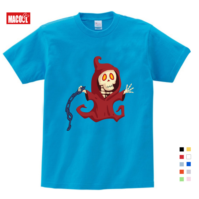 Children Lovely Skeleton Print T shirt Clothes for Boy Girls Summer Short Sleeve Solid Tee Tops Costume Kid TShirt Free shipping in T Shirts from Mother Kids