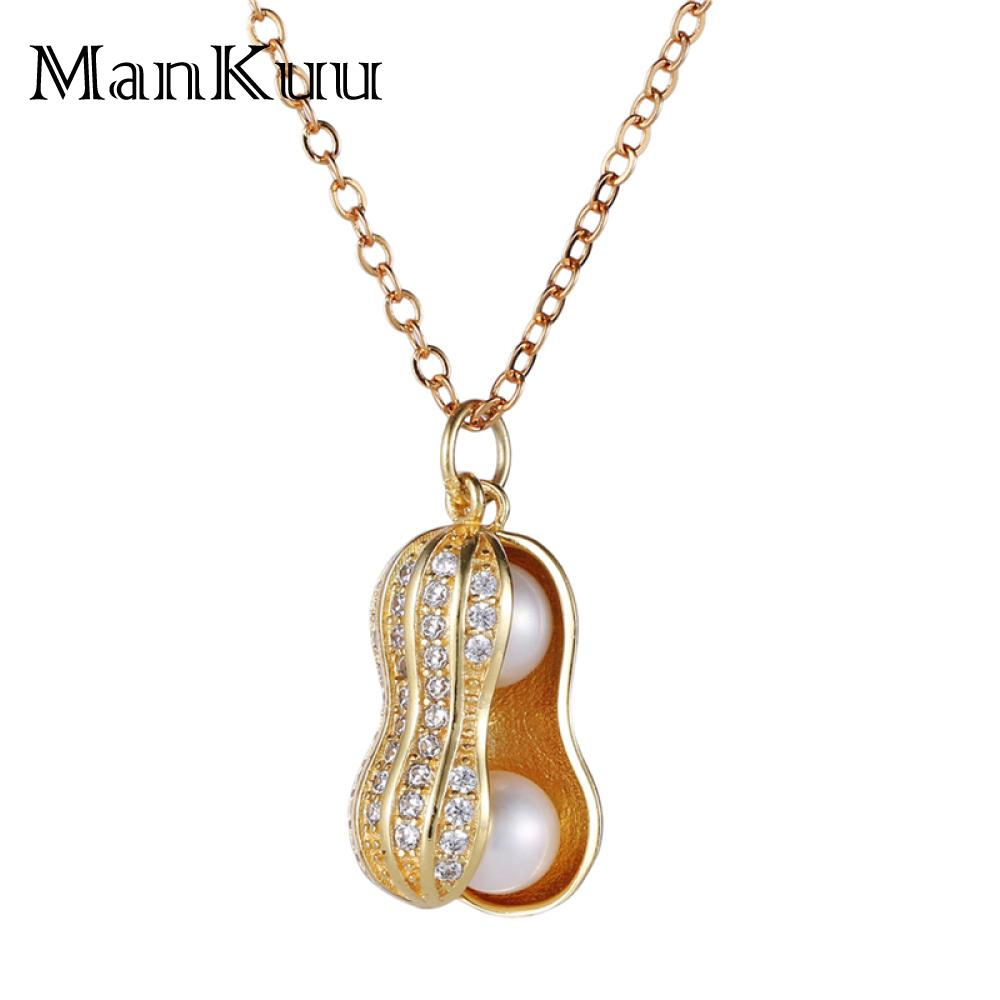 Gold Silver Lucky Peanut Pendant Necklaces 6-7mm Round Natural Freshwater Pearl Necklace Openable Cute Peanut Necklace For WomenGold Silver Lucky Peanut Pendant Necklaces 6-7mm Round Natural Freshwater Pearl Necklace Openable Cute Peanut Necklace For Women
