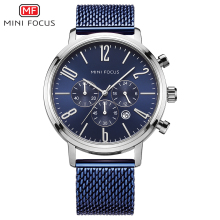 MINI FOCUS Mens 24 Hours Quartz Watches Business Chronograph Sports Wristwatch Man Mesh Strap 3Bar Waterproof Clock 0183G Blue