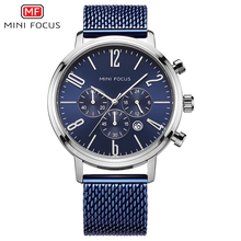 MINI FOCUS mannen 24 Uur Quartz Horloges Business Chronograaf Sport Horloge Man Mesh Band 3Bar Waterdichte Klok 0183g blauw
