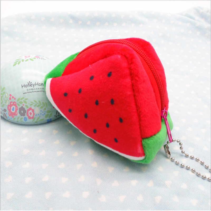 Kawaii frutas felpa monedero niños Zip pequeño cambio monedero cartera mujeres bolsa dinero bolsa naranja chico
