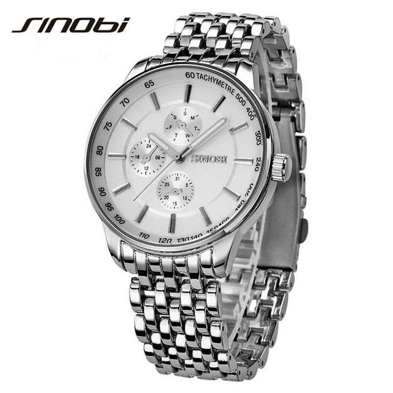 Sinobi Dress Quartz Watches Men Business Sports Military Steel Band Casual Wristwatch Waterproof Relojes hombre 2017 New sinobi original vogue new design wrist watches for men dress office waterproof men watch travel factory directly sale relojes