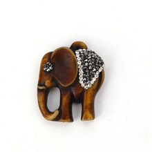 Doreen Box Resin Micro Paved Pendants Elephant Animal Coffee Dark Gray Clear Rhinestone 40mm(1 5/8) x 31mm(1 2/8), 1 Piece